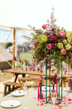 We adored these bright table centres by Leafy Couture Marquee Wedding Inspiration, Table Centers, Catering, Wedding Planner, Wedding Flowers, Shades, Bright, Couture, Table Decorations