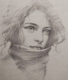 Romel de la Torre, morning practice, beautiful female portrait drawing