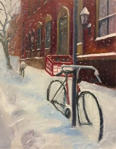 "Bicycles In Snow, 2017. Oil on canvas, 14"" by 11"""