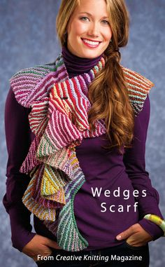 Wedges Scarf  from the Winter 2013 issue of Creative Knitting Magazine. Order a digital copy here: http://www.anniescatalog.com/detail.html?code=AM11208