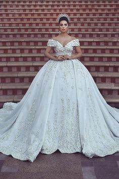 0bf5f7ef41ca Amazing Embroidered Off Shoulder Wedding Dress / Bridal Ball Gown with Long  Train by Said Mhamad