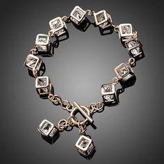 Caged Charm Bracelet - 18K Rose Gold Plated with 12 pcs of Swarovski Elemenets Crystal