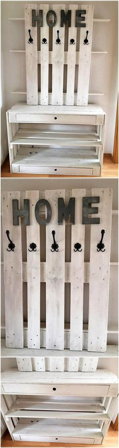pallets shelving and hanging art