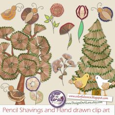 Pencil Shavings and Hand drawn clip art, Forest Trees Clipart, Garden clipart, butterfly, hand paint Food Art For Kids, Crafts For Kids, Arts And Crafts, Paper Crafts, Garden Clipart, Pencil Shavings, Weekend Crafts, Drawing Clipart, Ecole Art