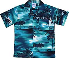 b2d33225 Hawaii Shirt Company for a men's Miami Beach Sunset Hawaiian shirt, cotton  turquoise Hawaiian shirt made in Hawaii featuring real coconut buttons.