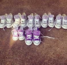 Monogrammed converse for the bridal party. What an adorable way to say thank you to your bridesmaids, and will be so cute in pictures? Even the converse for the flower girl. (They can wear them to the rehearsal dinner or for the wedding. Depends on what kind of bride you are.)