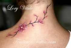 cherry blossum tattoos with bird | tendenzetattoo.com