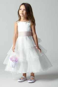 Tiered Tea Length Sleeveless Boat Neck A-line Flower Girl Dress