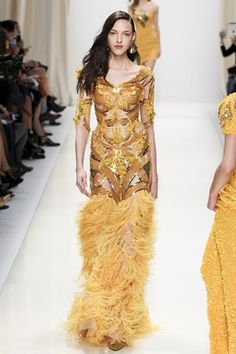 Valentin Yudashkin Totally beaded and feathered gold & bronze gown. #ss14