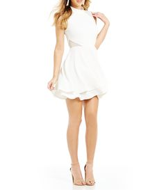 1c6456c91 Honey and Rosie Mock Neck Illusion Inset Fit-And-Flare Dress | Dillards