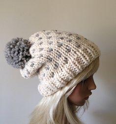 Slouchy Knit Hat Women's Pom Pom Hat Fair Isle Ski Hat by ellinell