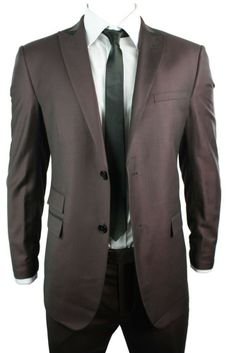 This Men's Suit is a Wine Maroon Burgundy Tailored Black Trim Office Party Wedding Suit. #suits #clothing #fashion #menswear #mensstyle #shopping #online #style