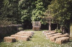 bales of hay seating area. Read More - http://onefabday.com/irish-destination-farmhouse-wedding/