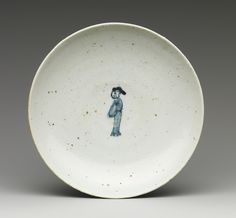 Dish with figure, Edo period (1615–1868), ca. 1620 Japan Porcelain with underglaze blue (Hizen ware, early Imari type)