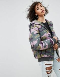 5e1963a4cd ASOS Padded Bomber Jacket in Camo Print Patterned Bomber Jacket, Hooded  Bomber Jacket, Quilted