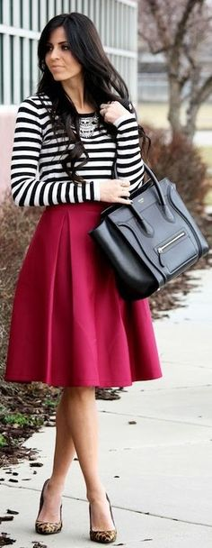 What I like- cranberry skirt, stripes. Would add black flats and simple jewelry