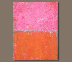 Abstract in Pink and Orange VI (30x40) large abstract painting, abstract art, pink painting, modern art, color blocking, minimalism