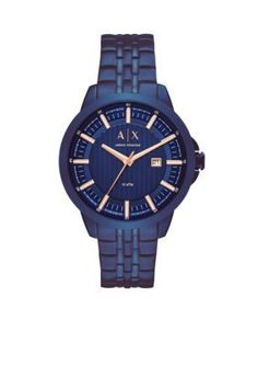 Armani Exchange Ax Men s Men s Gold-Tone Dress Watch - Blue - One Size Mens 07d7879de2