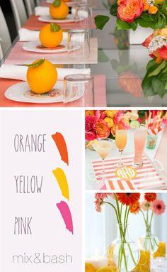 Bridal Shower Colors, Color Combos, Color Schemes, Orange Yellow, Gold Wedding, Shower Ideas, Summertime, Palette, Rose Gold