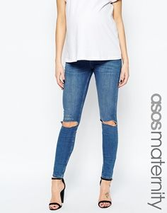ASOS Maternity Ridley Skinny Jeans In Blessing Mid Stone Wash With Rip