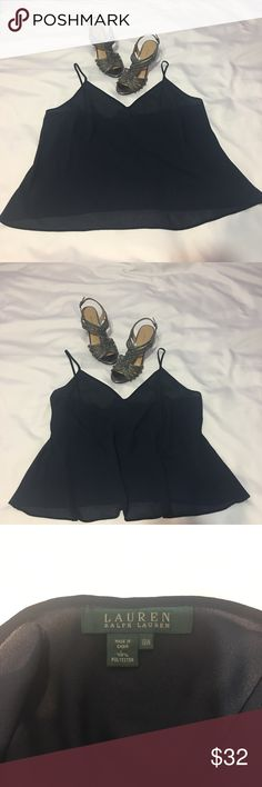 """Ralph Lauren Navy Blue Cami This sexy Cami is New with out tags, never worn.  Measures 23"""" from armpits.  There is a tiny smudge (see last pic). Not noticeable.  Dry clean only. Ralph Lauren Tops Camisoles"""