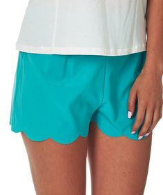 Look at this Pinkblush Mint Green Scalloped Shorts - Women on #zulily today!