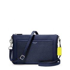 Coach Legacy Perforated Leather E/W Swingpack ($178) ❤ liked on Polyvore
