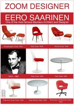Eero Saarinen classic designs - love the womb chair! Bauhaus, Mid Century Modern Design, Mid Century Modern Furniture, Chair Design, Furniture Design, Home Furniture, Eero Saarinen, Danish Modern, Mid-century Modern