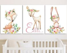 Baby Girl Nursery Wall Art Canvases, Little Star Elephant Personalized Nursery Canvas, Pink Gray Monogram Nursery Canvas Set of 3 Nursery Monogram, Nursery Canvas, Nursery Wall Decor, Nursery Art, Girl Nursery, Canvas Wall Art, Princess Nursery, Hippie Baby, Baby Posters