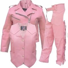 Women's Pink Leather Motorcycle Jackets, Chaps & Vests  Pink, Pink and more Pink! For the woman motorcyclist who is not afraid to sport her true colors, check out our line of pink leather clothing!