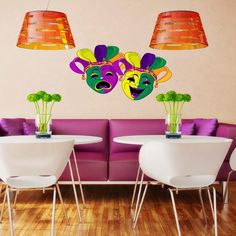 Mardi Gras Masks Colour Wall Sticker decoratiin...WOW