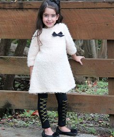 Mia Belle Baby Beige & Black Furry Tunic & Lace-Up Leggings - Toddler & Girls | zulily