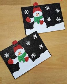 10 Easy Snowman Crafts for Kids and Adults ⋆ بالعربي نتعلم Christmas Card Pictures, Beautiful Christmas Cards, Christmas Card Crafts, Homemade Christmas Cards, Snowman Crafts, Christmas Activities, Xmas Cards, Kids Christmas, Handmade Christmas