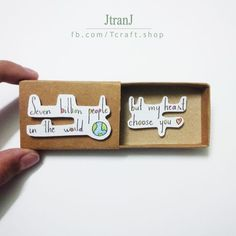 Love card matchbox card, greeting card is part of Boyfriend gifts - Love card matchbox card, greeting card sold by JtranJ JumitaGifts Shop more products from JtranJ JumitaGifts on Storenvy, the home of independent small businesses all over the world Diy Gifts For Friends, Gifts For Your Boyfriend, Ideal Boyfriend, Sister Valentine, Valentines, Top 5 Christmas Gifts, Best Birthday Surprises, Birthday Cards, Birthday Gifts