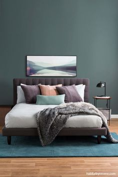 Ideas dark gray bedroom furniture duvet covers for 2019 Grey Feature Wall, Feature Wall Bedroom, Bedroom Wall Colors, Bedroom Color Schemes, Grey Bedroom Furniture, Home Decor Bedroom, Bedroom Rugs, Bedroom Ideas, Bedroom Curtains