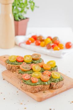 Vegan Pesto Cherry Tomato Bruschetta