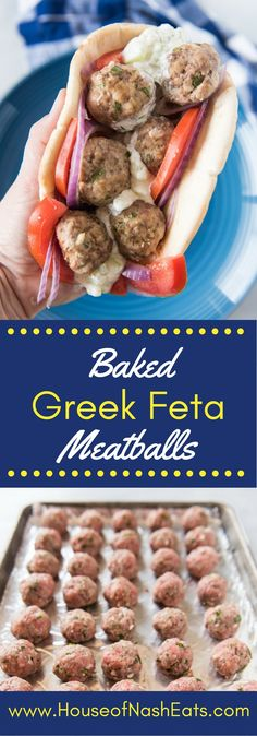 Rich ground lamb and ground beef and mixed with fresh parsley, garlic, feta cheese, breadcrumbs, and other herbs and spices to make these fantastic Baked Greek Feta Meatballs that go perfectly with some tangy, homemade tzatziki sauce, thinly sliced red onions and tomatoes, and a soft, grilled pita to create a meatball gyro sandwich.