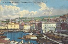 GENOVA (1915) Via Carlo Alberto, Passaggio Palazzo Reale, Bacino Darsena