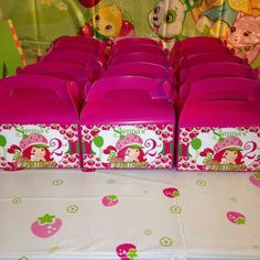 Strawberry shortcake party favors party by NoStressPartyGoods Strawberry Shortcake Birthday, Party In A Box, Favor Boxes, Party Favors, Birthday Parties, Bed Pillows, Gift Wrapping, Trending Outfits, Handmade Gifts