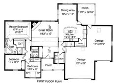 First Floor Plan of Bungalow   Country   Traditional   House Plan 50086
