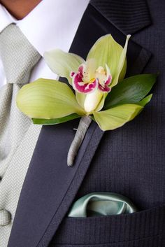Green orchid boutonniere - Seasons of Life Events-Fisheye Studio Photography