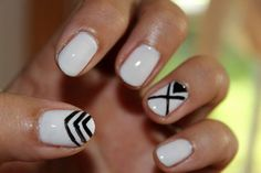 Black and white nail design