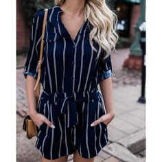 Stripe V-neck Half Sleeves Short Jumpsuit Cute Summer Outfits, Casual Outfits, Fashion Outfits, Party Fashion, Summer Wear, Women's Fashion, Rompers Women, Short Jumpsuits For Women, Women's Rompers