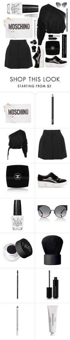 """""""Black & White Summer"""" by yummymummystyle ❤ liked on Polyvore featuring Moschino, NARS Cosmetics, Topshop, Chloé, Chanel, Opening Ceremony, OPI, Fendi, Charlotte Russe and Marc Jacobs"""