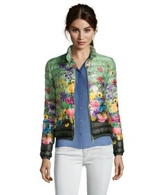 Moncler green floral print quilted 'Alisia' pillow collar down jacket