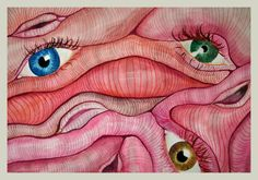 Eyes and pussies, 2015 Watercolour
