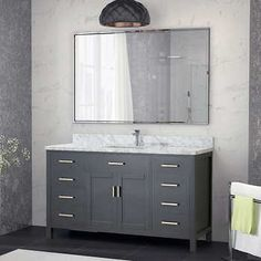 Studio Bathe Kalize II 60 Pepper Grey Single Vanity With Metal Framed Mirror