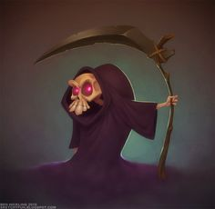 Death by BenHickling.deviantart.com on @deviantART. Cute little death with a crooked back and facial expressions in his skull. And his cloak is to big for him.