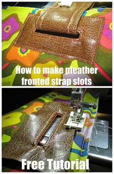 Do away with expensive grommets and make your own custom strap slots in your bags and purses using vinyl, leather, cork or similar. Great way to thread handles onto a purse. Source by jrhelene and purses crossbody Handbag Patterns, Bag Patterns To Sew, Sewing Patterns, Sewing Hacks, Sewing Tutorials, Sewing Tips, Purses And Handbags, Gucci Handbags, Expensive Purses
