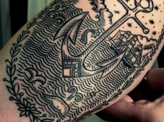Woodcut-style tattoo. Kind of reminds me of Steven